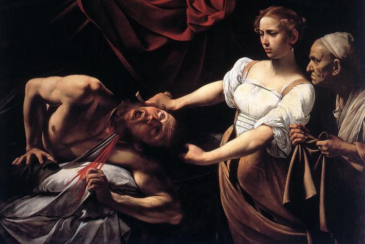 Obra prima de Caravaggio, sua Judith, heroìna do povo hebreu, decapitando Holofernes aqui representa o que foi descrito no Livro de Judite.