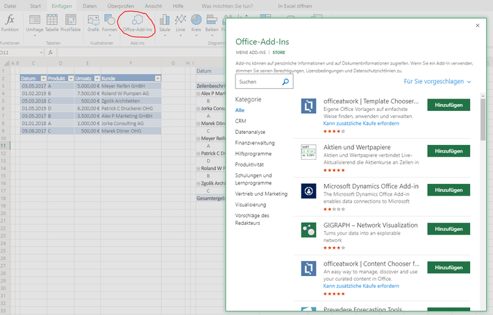 Office Addins in Excel online