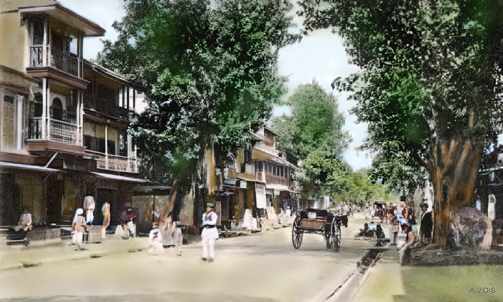 Early 1900s : Main Street Poona. Image colourized by Anthony Zois.