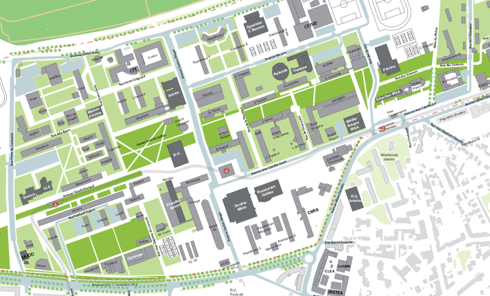 Plan du campus de la Doua - Lyon Tech
