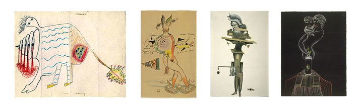 Cadavres Exquis ( André Breton, Camille Goemans,  Jacques Prévert, Man Ray, Joan Miro, Max Morise, Yves Tanguy)