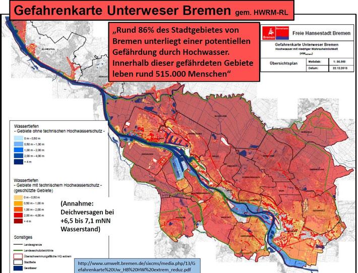 klicken zum Vergrößern: Findorff liegt tiefer als die Weser. Bereits heute sind fast 90 Prozent des Stadtgebietes überflutungsgefährdet und müssen durch Deiche geschützt werden.
