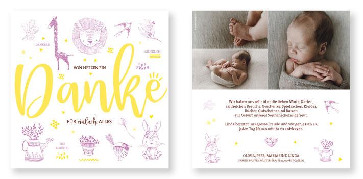 Dankeskarte Schweiz Kartendings Symbole Baby Geburt