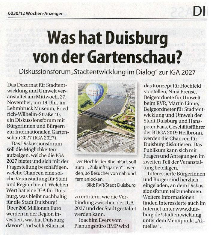 """WA November 2019 Vorankündigung Diskussionsforum """"Stadtentwicklung im Dialog"""" zur IGA 2027"""