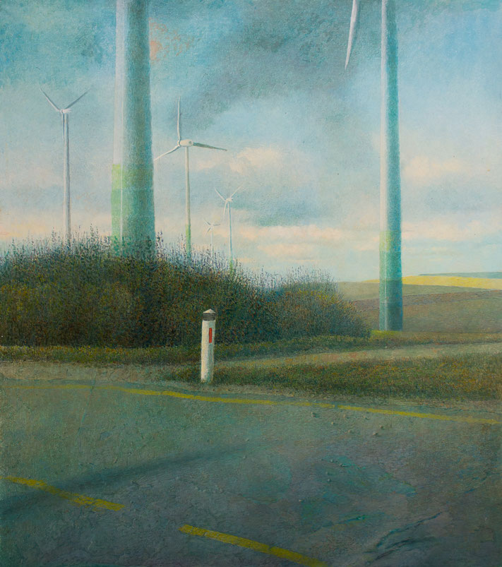 Hanno Karlhuber - Windpark - Acryl/Öl auf Holz, 80 x 70 cm, 2018