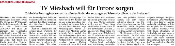 Artikel im Miesbacher Merkur am 8.10.2016 - Zum Vergrößern klicken