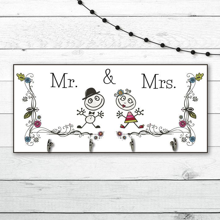 Lustige Hakenleiste Holz Brautpaar
