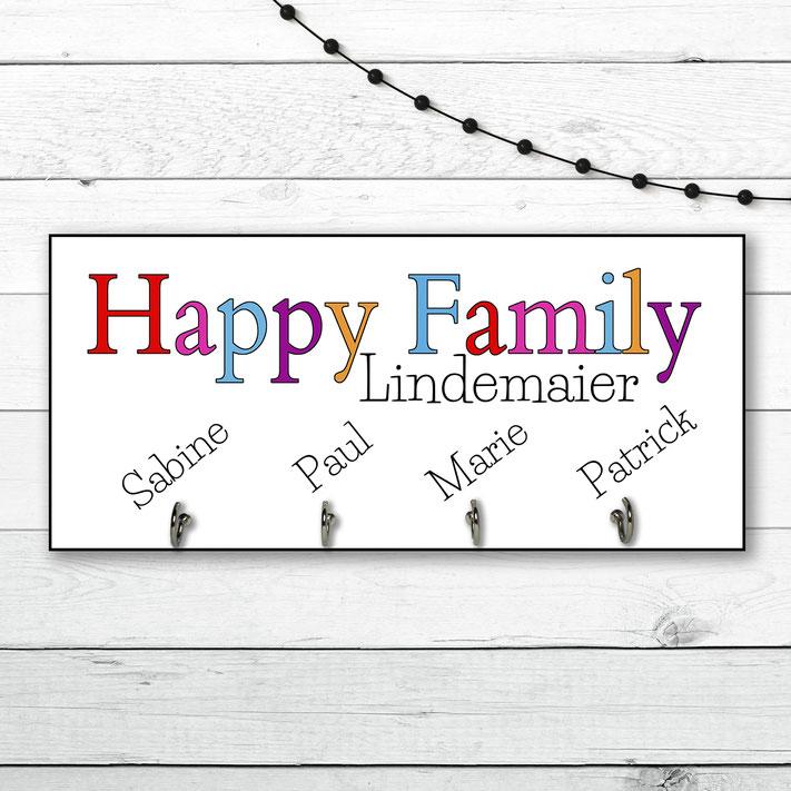 Schlüsselbrett Holz Happy Family personalisierbar