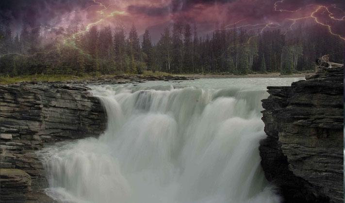 La voix de Yahweh a retenti au-dessus des eaux, le Dieu de gloire a fait retentir son tonnerre, Yahweh a fait gronder son tonnerre au-dessus des grandes eaux! La voix de Yahweh est puissante, la voix de Yahweh est majestueuse. Psaumes 29: 3, 4