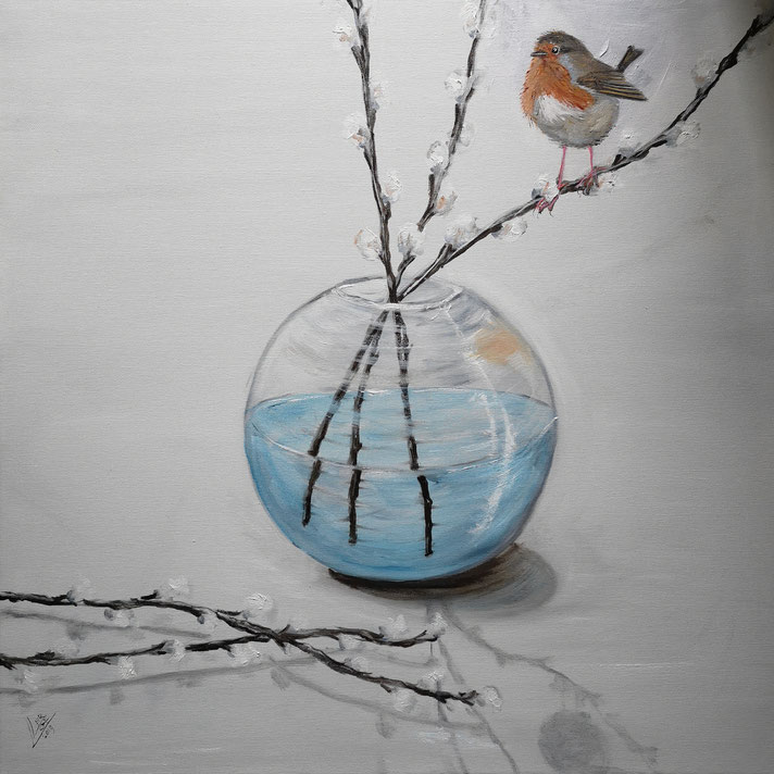 9.Robin and the willow catkins 50x50 cm