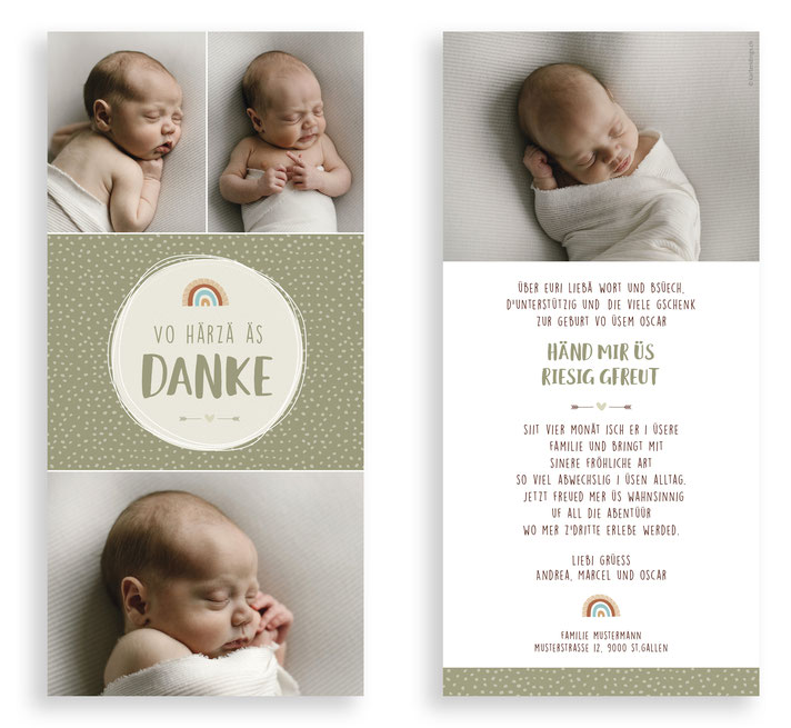 Geburtskarte Geburtsanzeige Dankeskarte Geburt Baby kartendings.ch