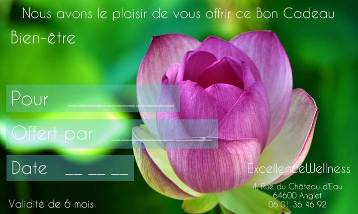 Bon cadeau massage biarritz, Excellence Wellness Spa Massages Bien-être et Beauté Bio Biarritz.