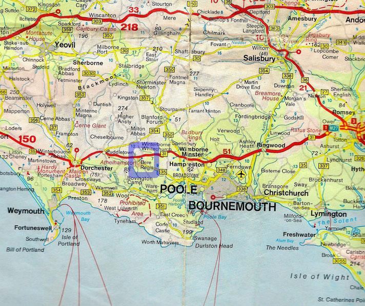 Ungefähre Lage von Anderson Manor - 3 Meilen nördlich Bere Regis - und Nähe zu Poole!
