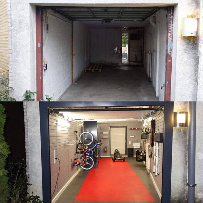 Garagensanierung vorher/nacher