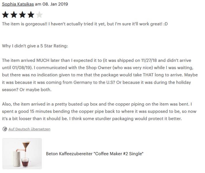 Coffee Maker, 4 Sterne Kundenbewertung