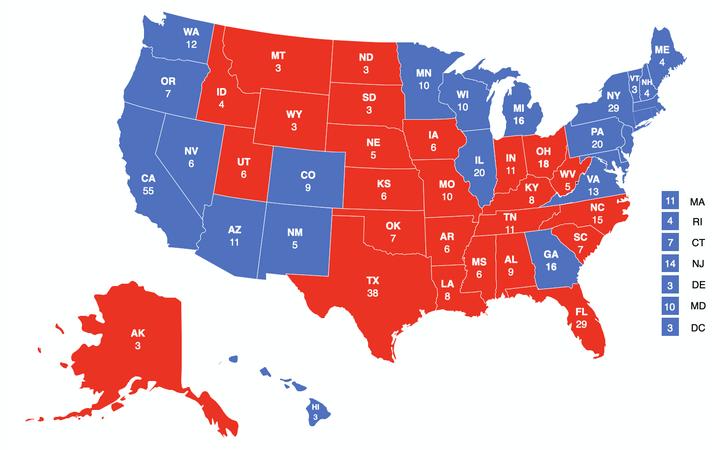 Die Wahl-Karte der USA falls die Entwicklungen anhalten | Blau: Joe Biden, rot: Donald Trump
