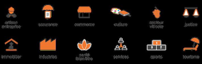 Artisanat | Assurance | Commerce | Culture | Domaines viticoles | Justice | Immobilier | Industries | Santé-Bien être | Services  | Sports | Tourisme ...