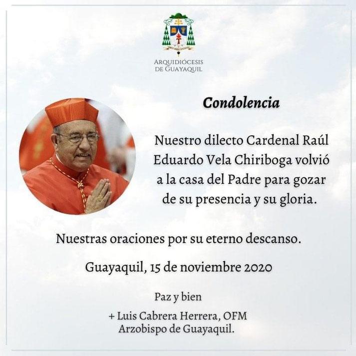 Traueranzeige des Erzbistums Guyaquil