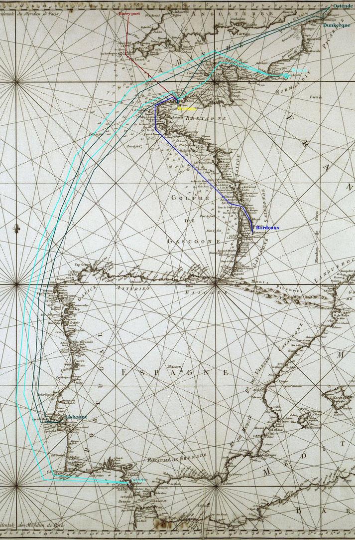 Exemples de voyages du « Jean-Marie » armé au grand cabotage de Cadix à Ostende