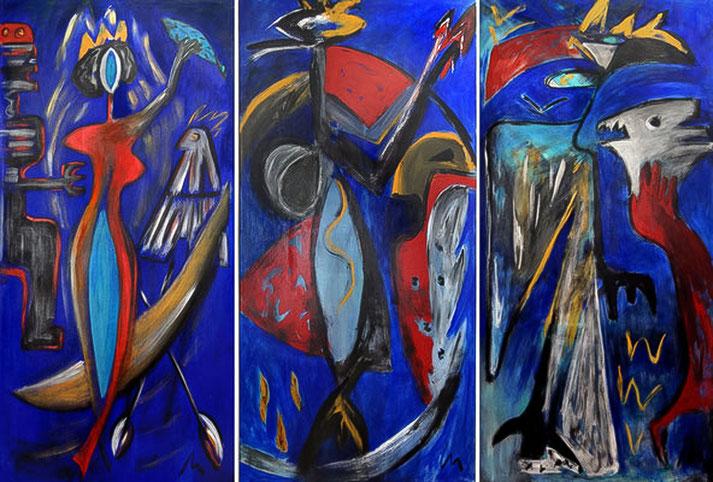 1985 Acryl auf Leinwand je ca. 200 x 97 cm