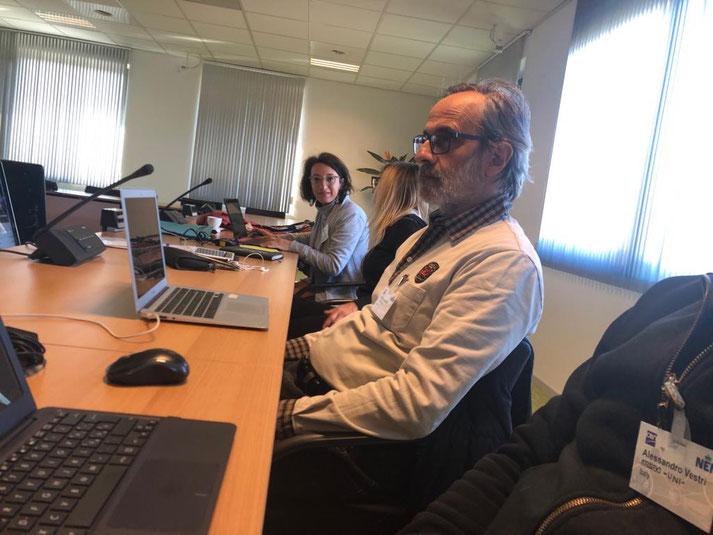 La déléguée de Canidea représentant la France dans les locaux de l'agence de normalisation néerlandaise NEN à Delft aux Pays-Bas.