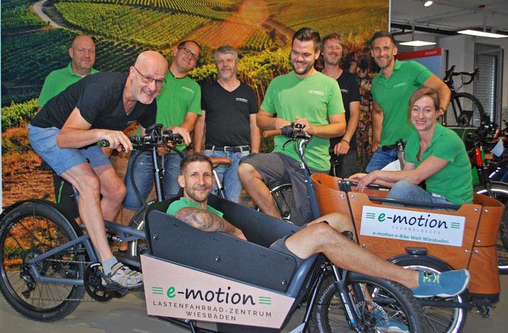 Lasten und Cargo e-Bikes probefahren und kaufen in der e-motion e-Bike Welt Wiesbaden