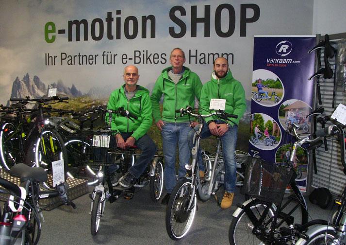Kostenlose Beratung, Probefahrt und Vergleich von Trekking e-Bikes in der e-motion e-Bike Welt Hamm
