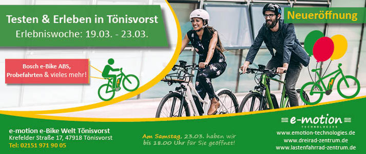 Neueröffnung der e-motion e-Bike Welt Tönisvorst - Erlebniswoche vom 19.03. bis 23.03.