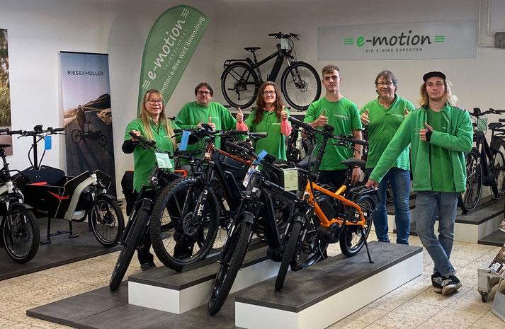 Beratung zu City e-Bikes in der e-motion e-Bike Welt Ravensburg
