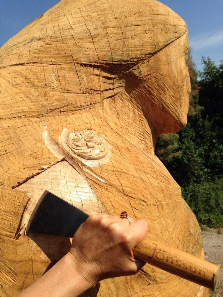 über drei Meter Eichen Stammholz für das einzigartige Rapunzel