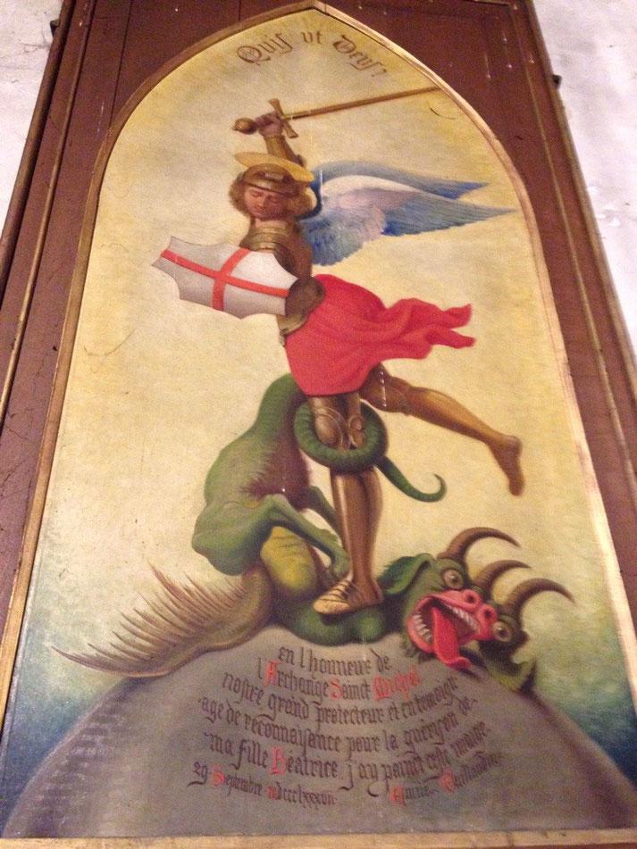 Erzengel auf einem Votivbild in der Kirche Saint Pierre von Mont Saint Michel