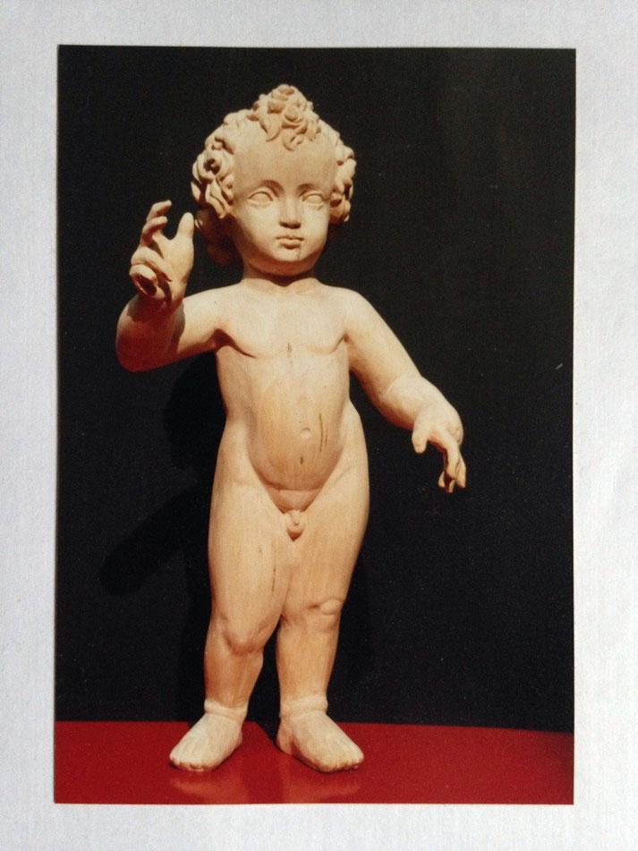 sakrale Kunst, das Christuskind in Lindenholz ungefaßt, Atelier Honighäusla