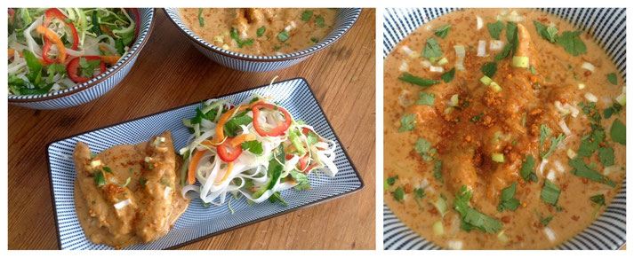 Thaise Pindakip met Thaise Noodle Salade.