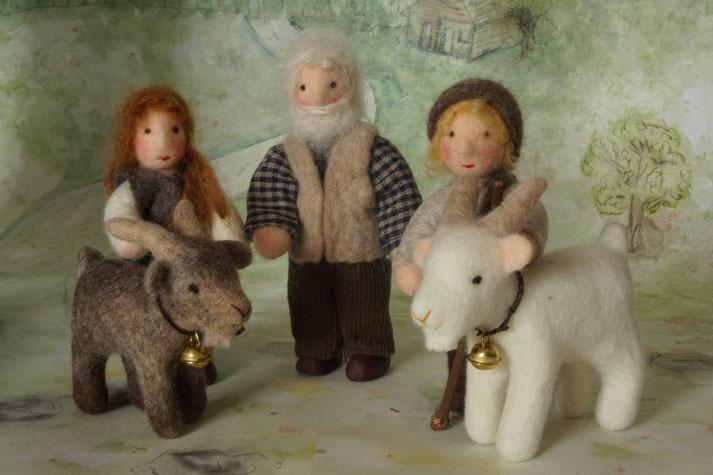 Heidi und Geißenpeter, Almöhi, Alpöhi, Biegepüppchen, Puppenhauspuppe, WunderFilzig, Filzziege, Filzpuppe, gefilztes Tier, Filztier
