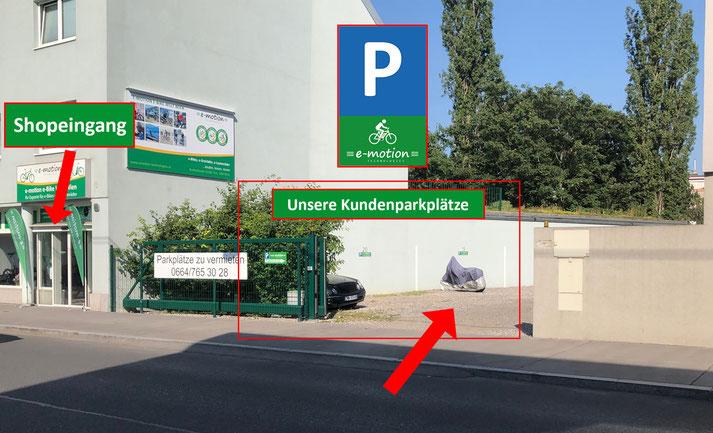 So finden Sie uns - Unsere Kundenparkplätze - e-motion e-Bike Welt Wien
