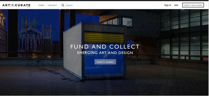 Page d'accueil de art:i:curate, start up artistique américaine qui promeut le financement participatif