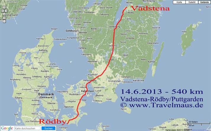 Vadstena- Rödby/Puttgarden [Fehmarn] 540 km