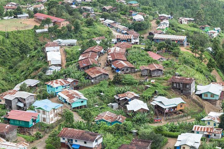 Casas de Hakha. Chin State