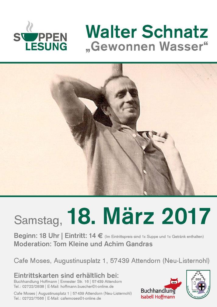 Das Plakat zur Lesung mit Walter Schnatz.