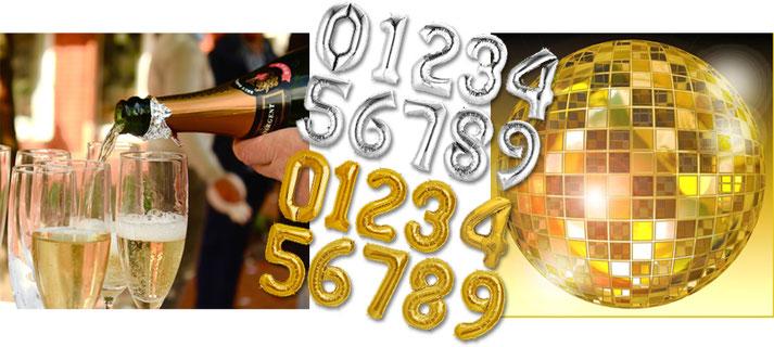 Folienballon Zahlen Buchstaben XXL Schriftzug Schriftzüge Luftballon Ballon Party Geburtstag Silvester Zahl