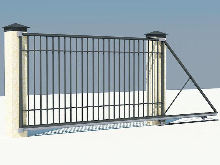 Откатные ворота с полотном решетчатого типа