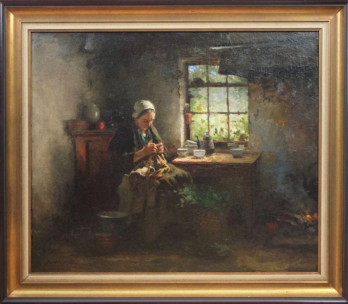 te_koop_aangeboden_een_interieur_schilderij_van_de_nederlandse_kunstschilder_johannes_weiland_1856-1909_larense_school