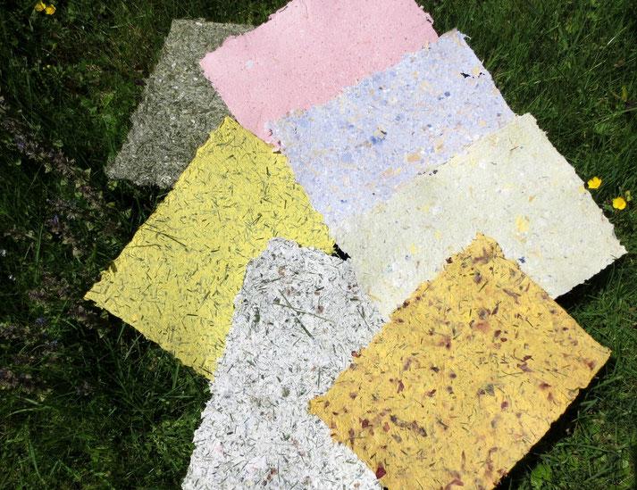 Handgeschöpfte Papiere mit Blüten, Gräsern und Maisblättern