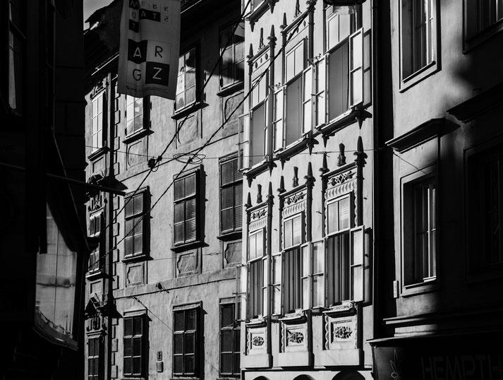Häuserdetail in der Grazer Sporgasse
