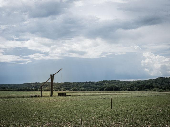 """Die Landesgrenze verläuft mitten durch die Felder, heute """"Gott sei Dank"""" ohne """"Eisernen Vorhang"""""""