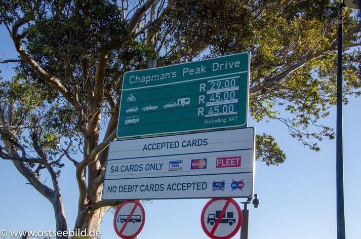 Chapman's Peak Drive Maut Schild