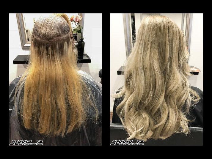 Coloration Haarfarbe Blond vorher nachher sand beige