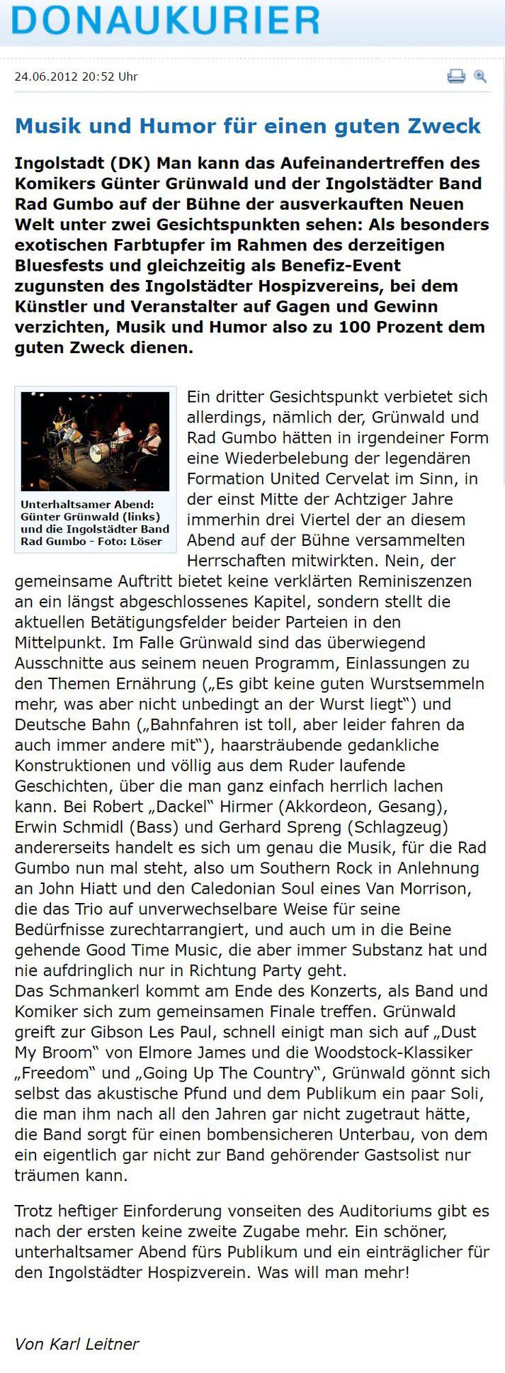 Rad Gumbo mit Günter Grünwald beim Benefizkonzert für den Hospizverein Ingolstadt 2012