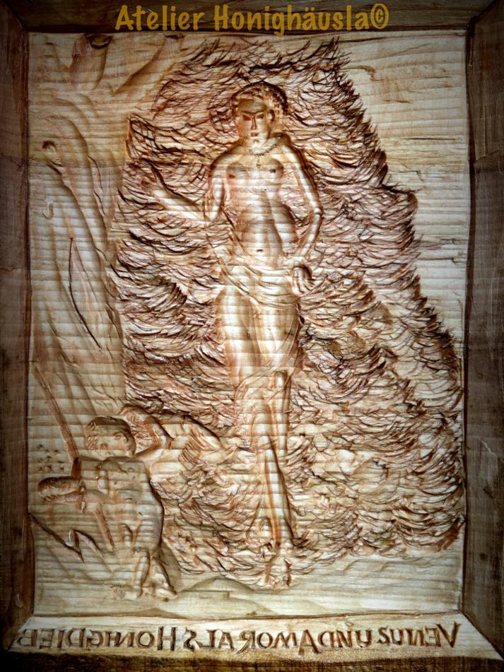 Venus und Amor als Honigdieb, geschnitzt Linde