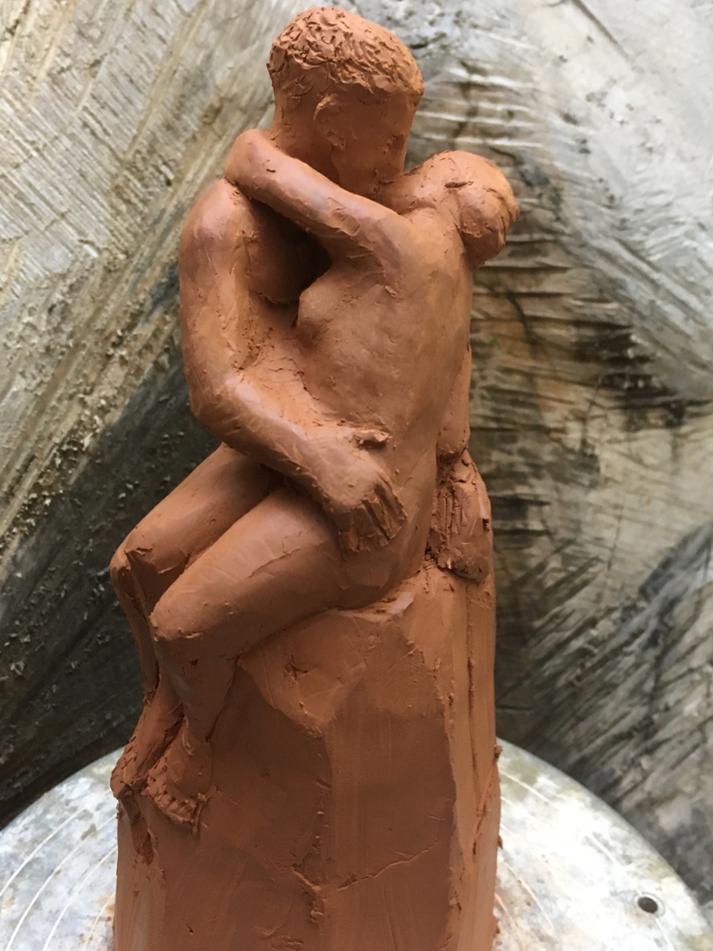 Tonmodell DER KUSS nach Rodin